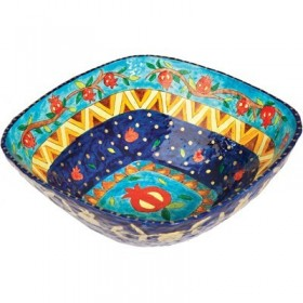 Paper Mache  - Square Large Bowl - Blue Background