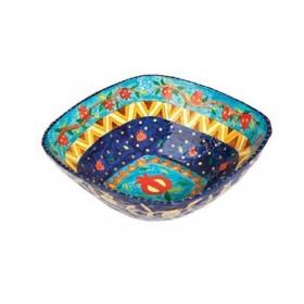 Paper Mache - Square Small Bowl - Blue Background