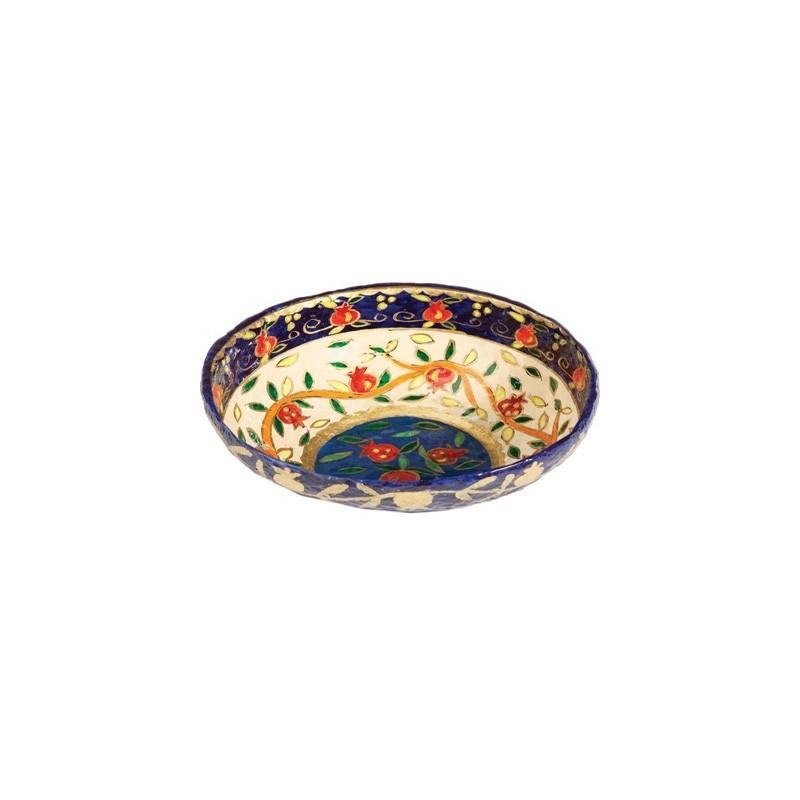 Paper Mache - Medium Bowl - Pomegranate - White Background