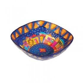 Paper Mache  - Square Small Bowl - Jerusalem