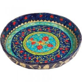 Paper Mache - Large Flat Bowl - Pomegranates - Blue Background