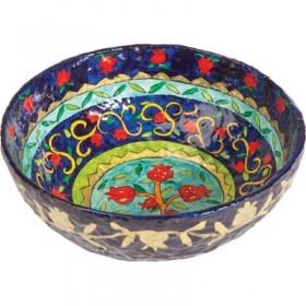 Paper Mache - Large Bowl - Pomegranate - Blue Background