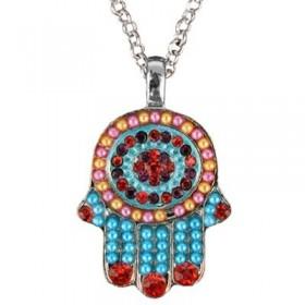 Necklace - Small Hamsa - Multicolor
