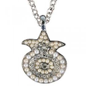 Necklace - Pomegranate - White + Silver