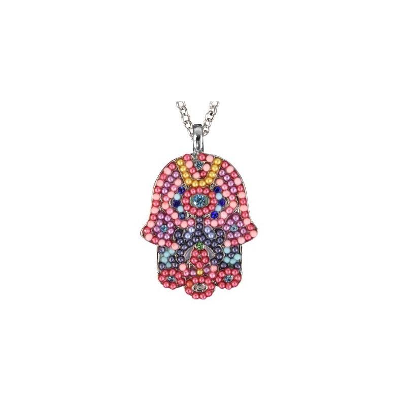Necklace - Large  Hamsa - Multicolor