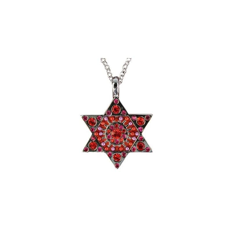 Necklace - Magen David - Maroon