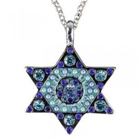 Necklace - Magen David - Blue