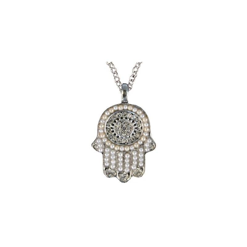 Necklace - Small Hamsa - Silver + White