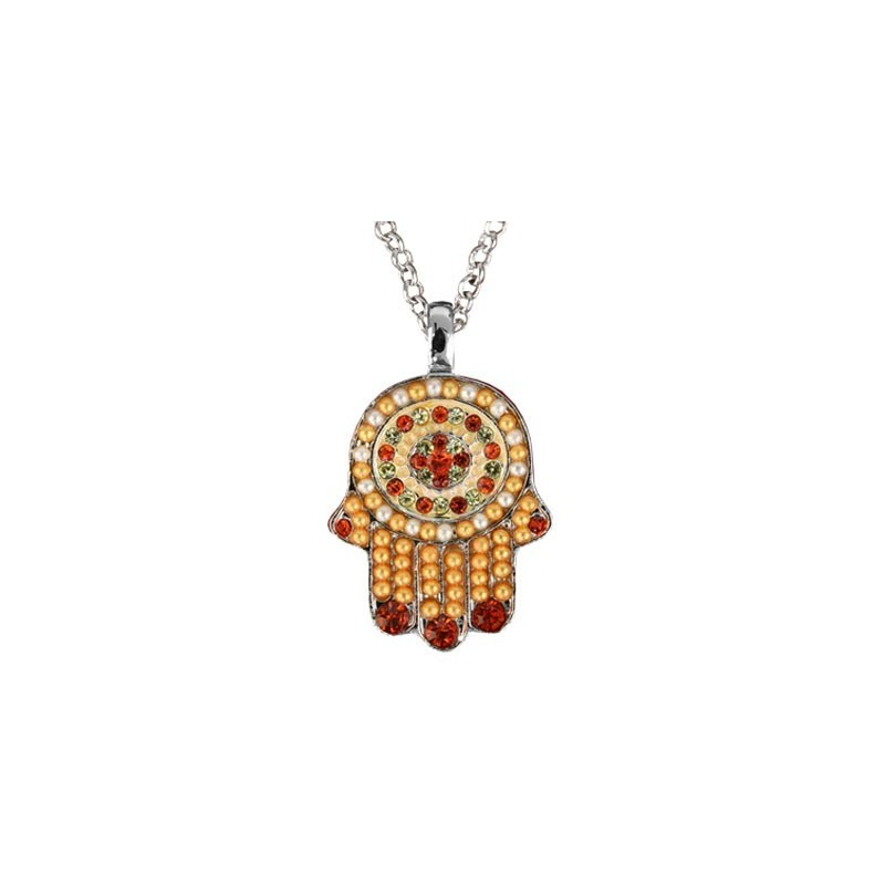 Necklace - Small Hamsa - Brown + Maroon