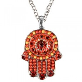 Necklace - Small Hamsa - Maroon