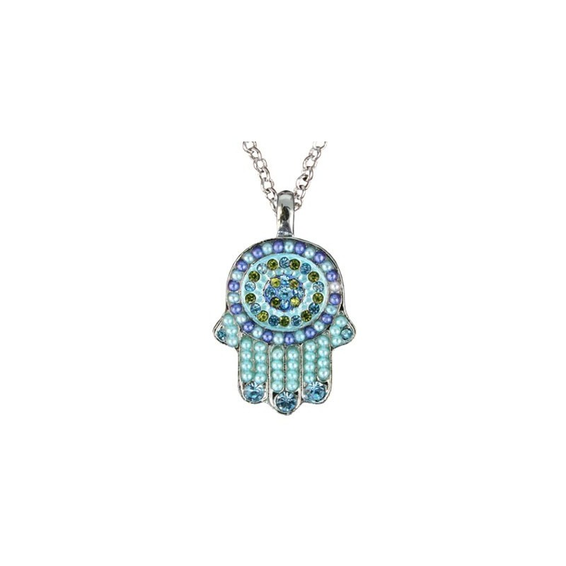 Necklace - Small Hamsa - Turquoise + Blue